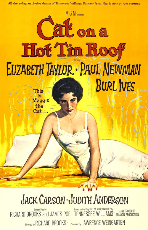 1958 Cat on a Hot Tin Roof movie poster